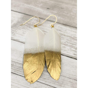 White Feather Earrings - Gold Arrow Studios
