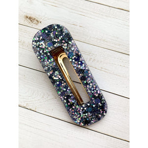 Wish Upon A Star Glitter Clip - Square Oval - Clip