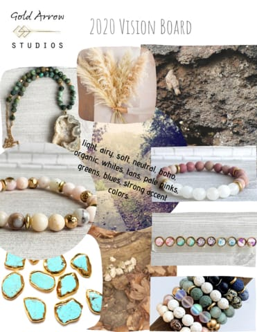 mood board, vision board, gold arrow studios, 2020 designs, jewelry, handmade, bracelets, necklaces, earrings