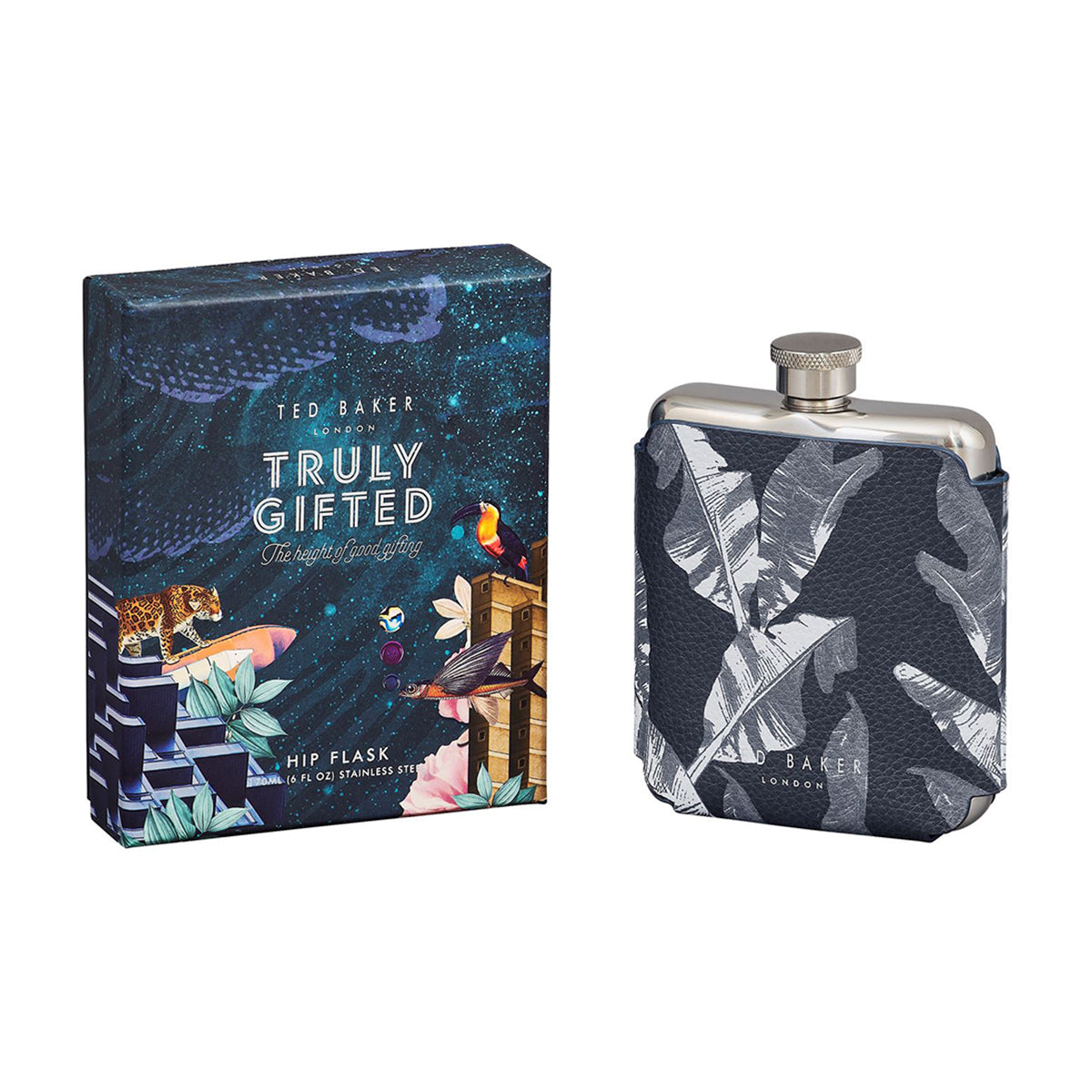 Printed Hip Flask Silver