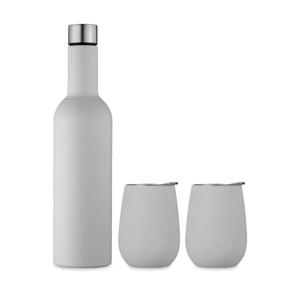 Double Wall Insulated Wine Traveller Set Dove Grey
