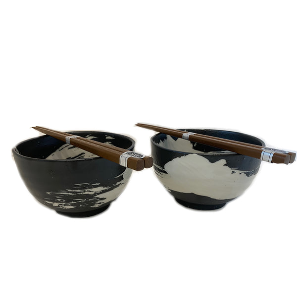 Black And White Bowl & Chopsticks / Set 2