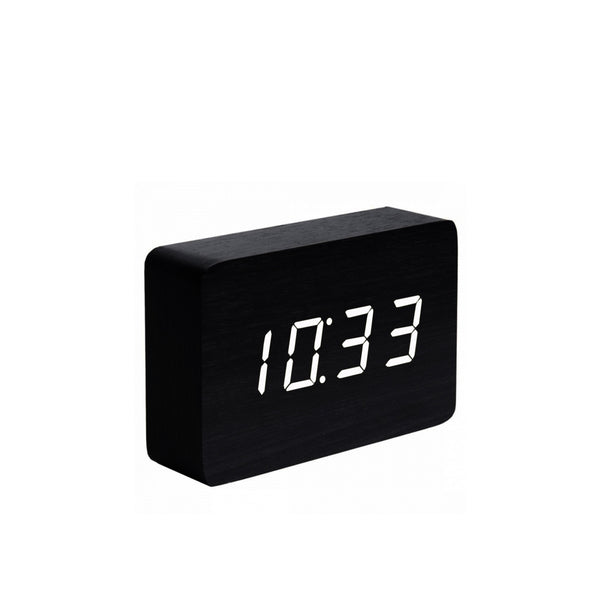 Brick Click Clock Black / White LED