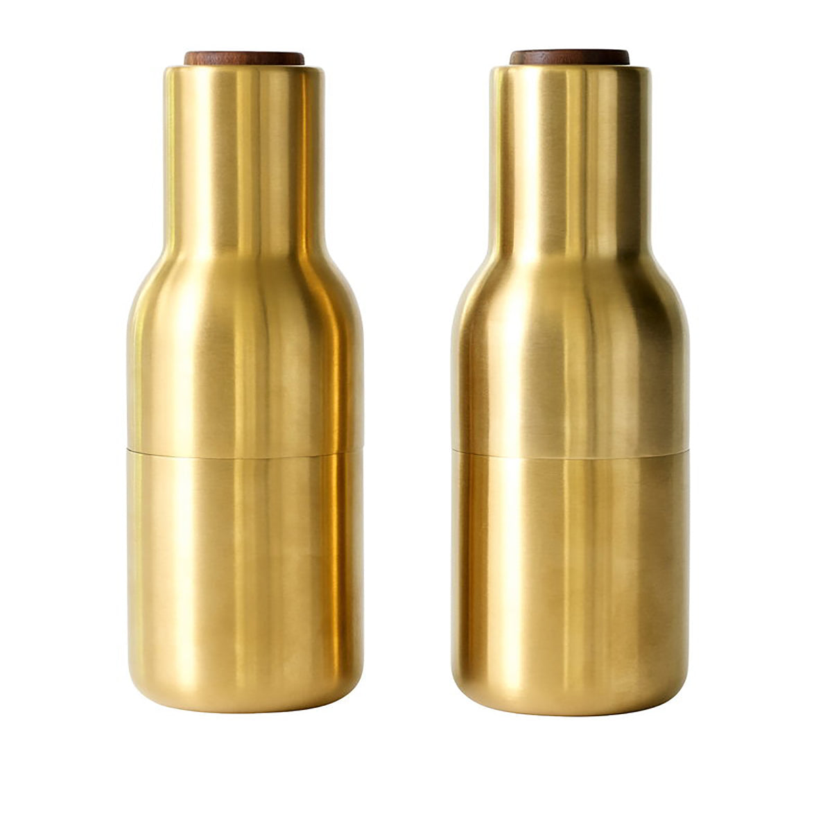Bottle Grinder Brushed Brass with Walnut / Set 2