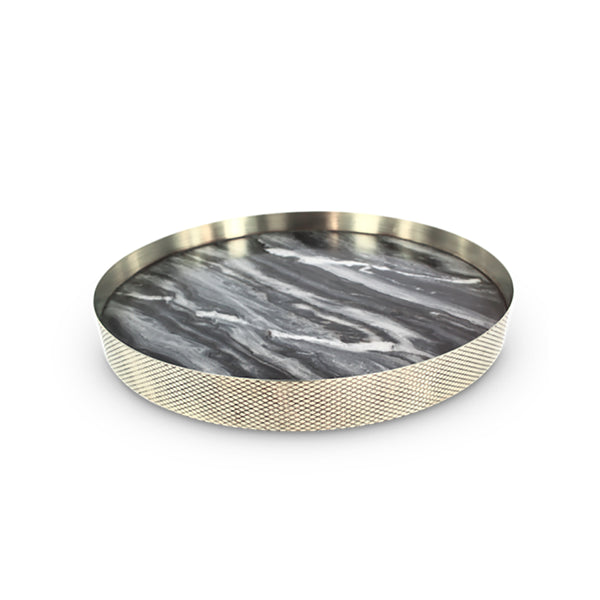 Orbit Tray Smokey Marble / Diamond Brass