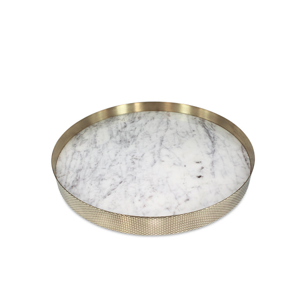 Orbit Tray White Marble / Diamond Brass