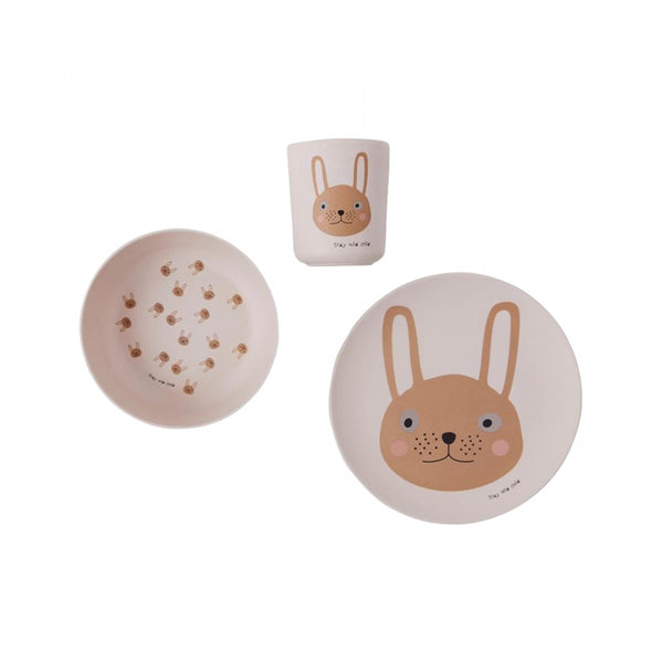 Rabbit Bamboo 3pce Set Rose
