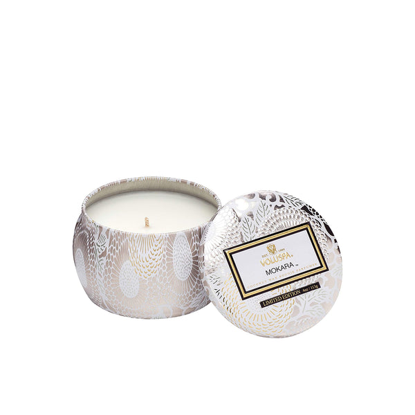 Petite Decorative Tin Candle Mokara