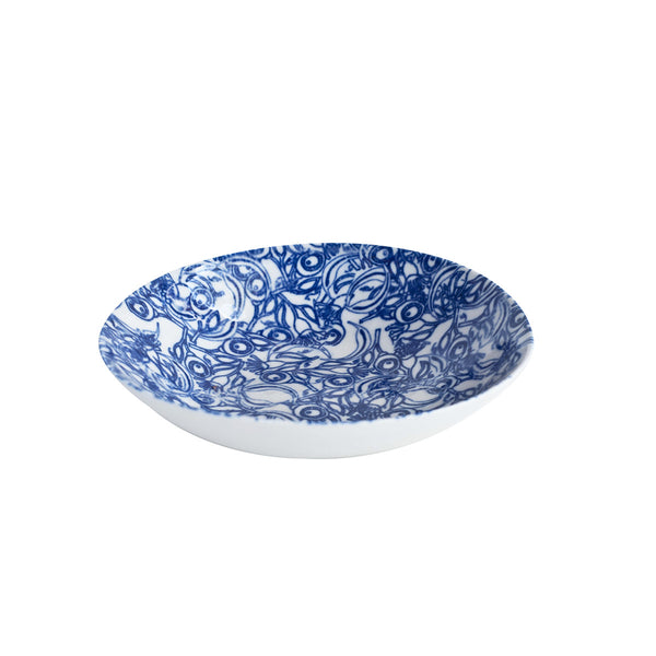 Floral Blue Oval Bowl Medium