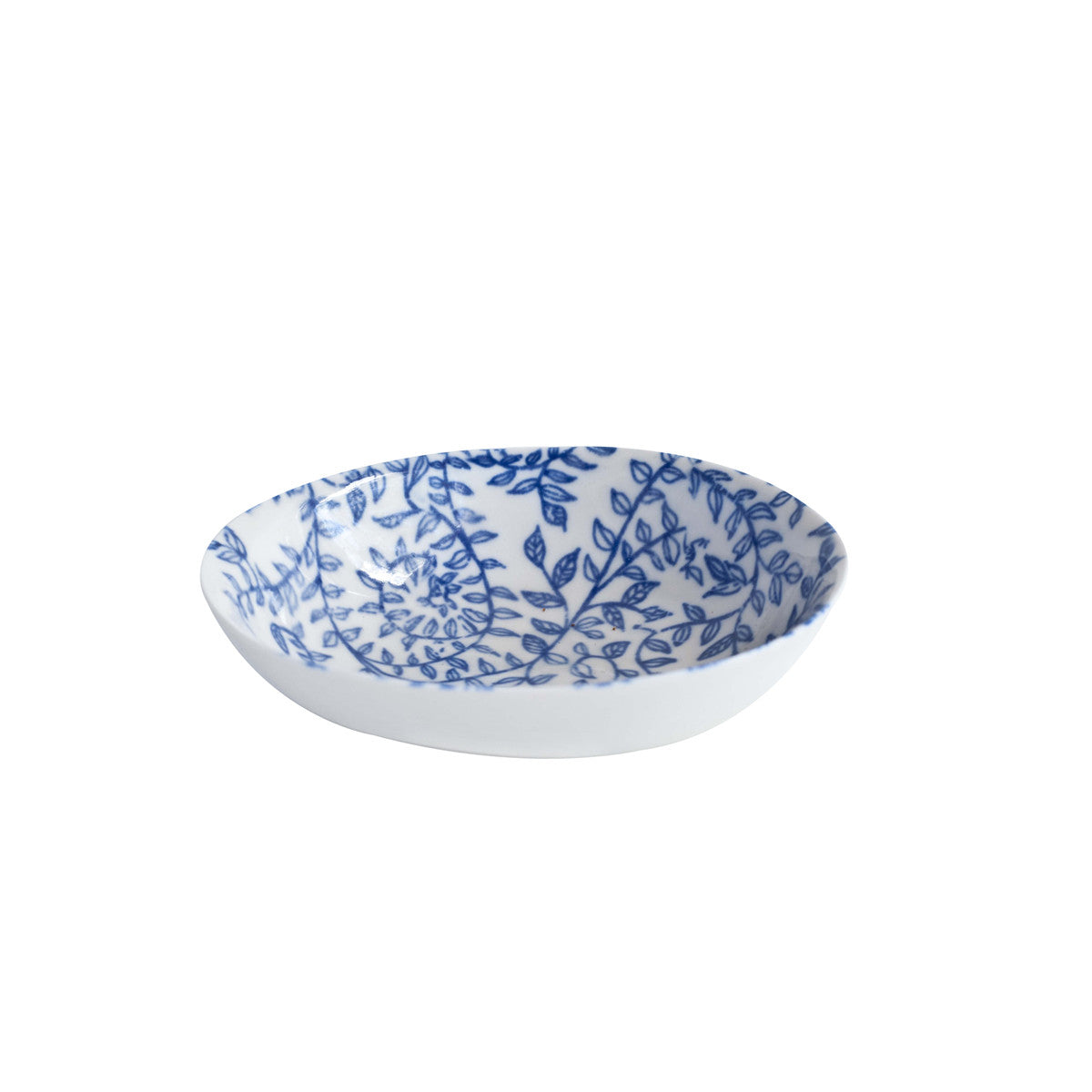 Floral Blue Oval Bowl Small