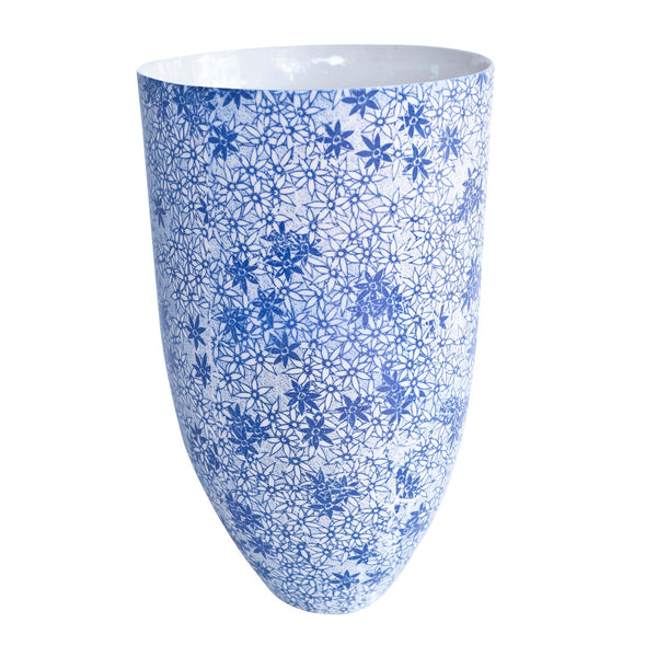 Floral Blue Bowl Vase 280 mm x 170 mm