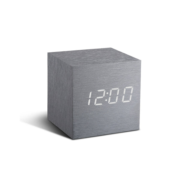 Cube Click Clock Aluminium / White LED