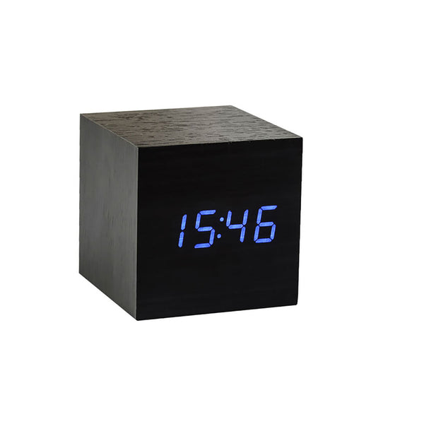 Cube Click Clock Black / Blue LED