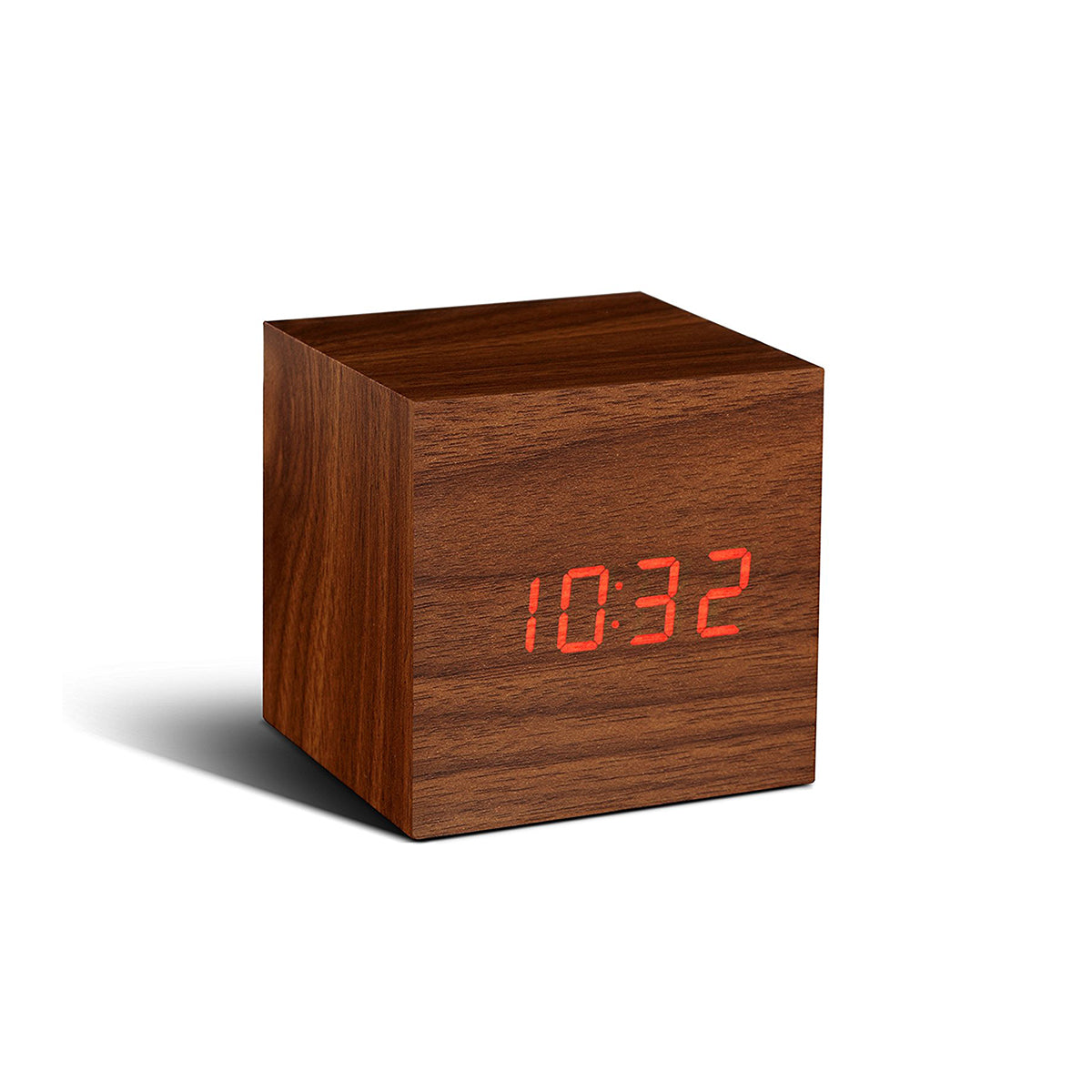 Cube Click Clock Walnut / Red LED