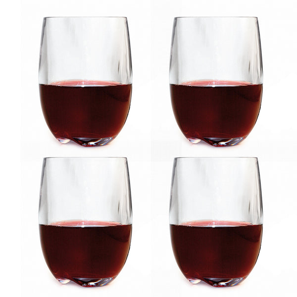 Stemless Polycarbonate Red Wine Glasses / Set 4