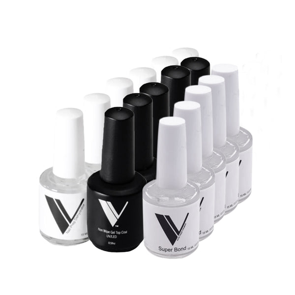 Acrylic System by Valentino Beauty Pure - Non Wipe Gel Top Coat, Super Bond Primer, and Nail Prep Dehydrator Sale