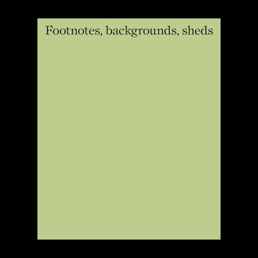 Footnotes, backgrounds, sheds - Hugh Strange, Max Creasy & Elizabeth Hatz