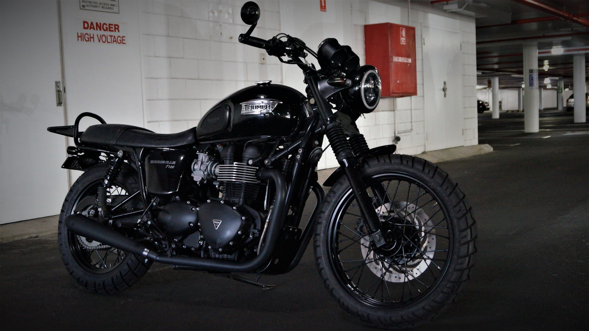 Blacked out Triumph Bonneville