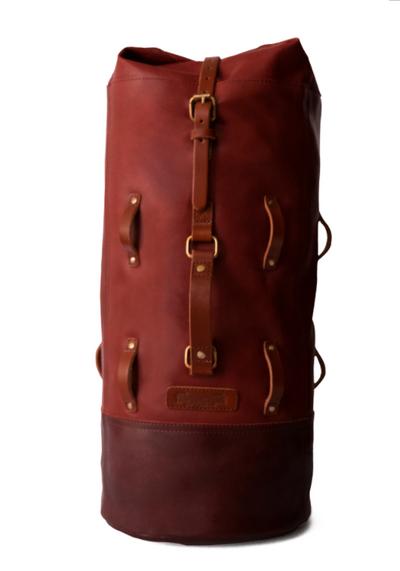 LEATHER MILITARY DUFFEL | CHERRY RED