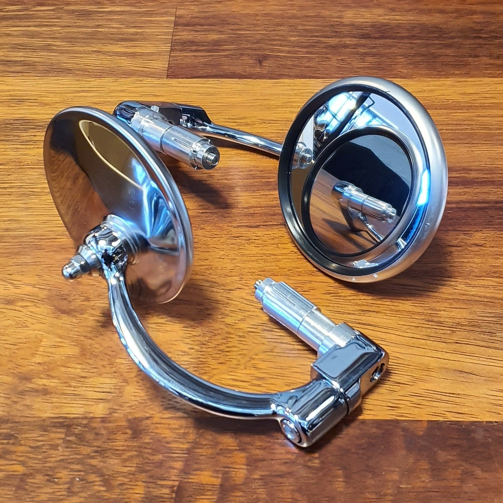 Set CLASSIC BAR END MIRRORS ROUND STAINLESS