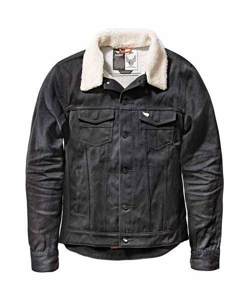 SAINT UNBREAKABLE JACKET WITH DETACHABLE SHEARLING COLLAR - BLACK COATED