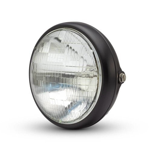FLAT BLACK SHORTY HEADLAMP - 12V / 55W SEALED BEAM