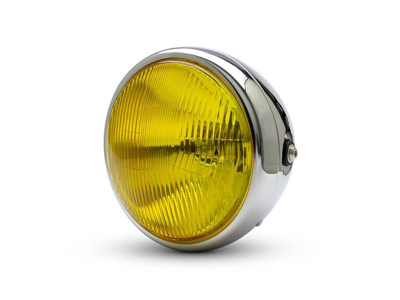 "7.7"" CLASSIC CHROME HEADLIGHT YELLOW LENS"