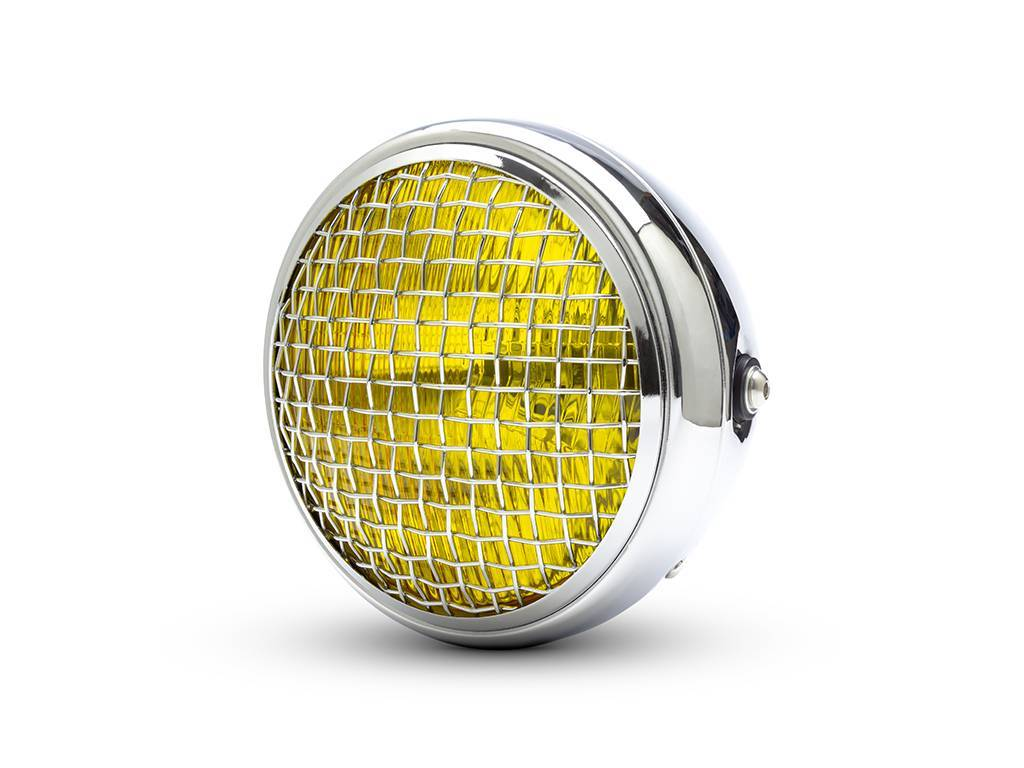 "7.7"" CLASSIC CHROME MESH HEADLIGHT YELLOW LENS"