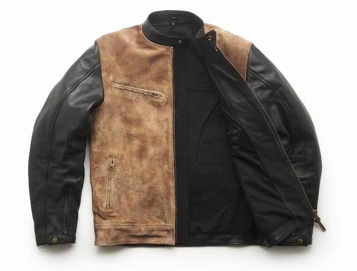 Sidewaze Leather Jacket Tan/Black