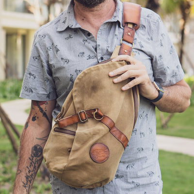 Nomad XL Sling bag Waxed Canvas and Leather Bag for Men