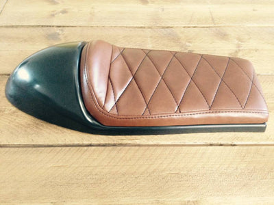 cafe racer tracker seat rogue motorcycles perth australia brown diamond stitch