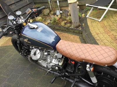 cafe racer tracker seat rogue motorcycles perth australia brown diamond stitch cx500 honda