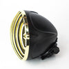 "Rogue Motorcycles Brass Gold Headlight Black Grille Grill Mesh Jail Bar 4 1/2"" inch custom Bobber Chopper Harley Davidson"