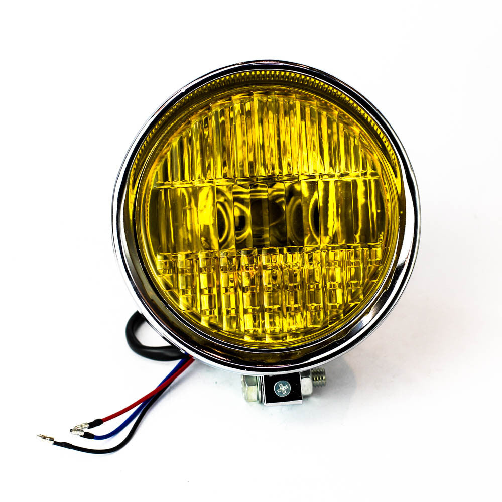 rogue motorcycles custom headlight yellow lens chrome bottom mount bobber chopper custom bike build