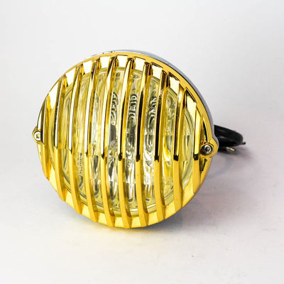 "Rogue Motorcycles Brass Gold Headlight Polished Grille Grill Mesh Jail Bar 4 1/2"" inch custom Bobber Chopper Harley Davidson"