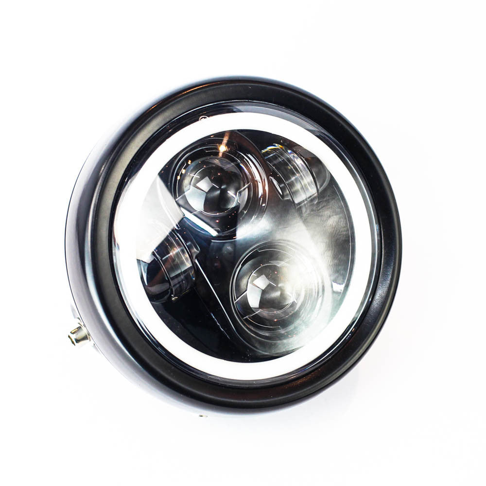 "Rogue Motorcycles Daymaker Headlight LED Halo Angel Eyes 5 3/4"" inch 160mm Black side mount custom bike build bobber chopper"