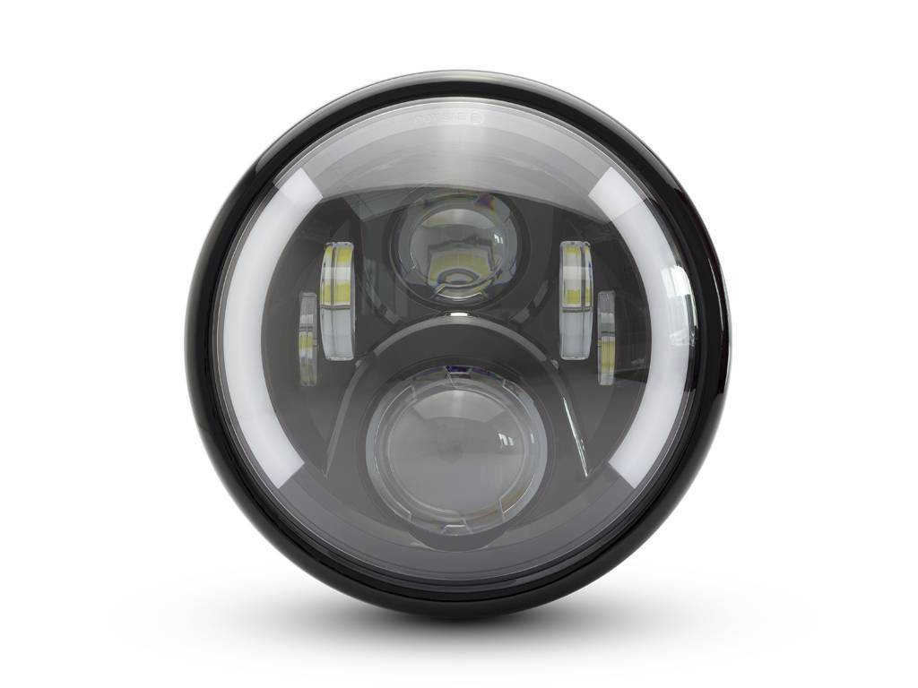 "7.7"" MULTI LED HEADLIGHT + INDICATORS BLACK TYPE 2"