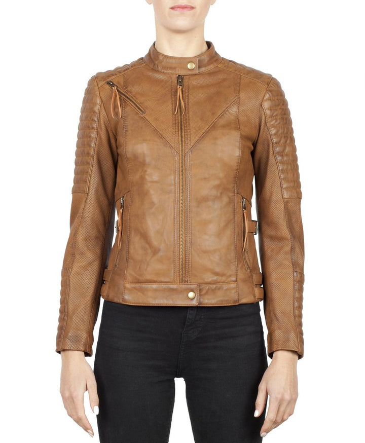 Wild & Free Tan Motorcycle Jacket Women