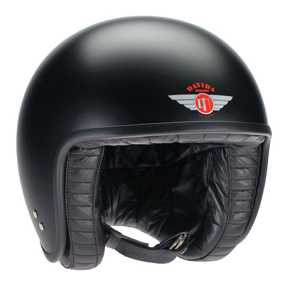 Rogue motorcycles Davida Jet Helmet Matte Black Leather custom bike cafe racer
