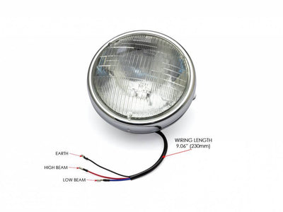 "7 ""CHROME SHORTY HEADLAMP - 12V / 55W SEALED BEAM"