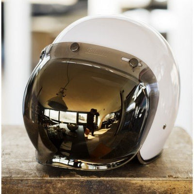 FACE SHIELD GOLD BUBBLE VISOR BITWELL GRINGO ROGUE MOTORCYCLES PERTH WA AUSTRALIA CAFE RACER VINTAGE RETRO HELMET GEAR