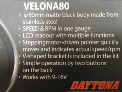 DAYTONA VELONA 80MM SPEEDO/TACHOMETER 14.000 RPM