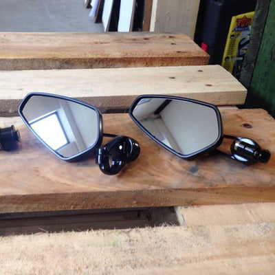 MODERN BAR END MIRRORS BLACK