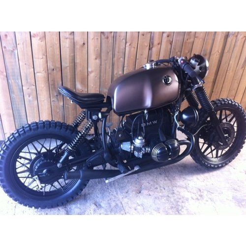 exhaust muffler trumpet black Rogue motorcycles, Rogue, custom, biltwell, Gringo, Australia, cafe racer, bobber, bobber frame bmw R100 r80 r65 r45 K100 R-model single seat ironwood