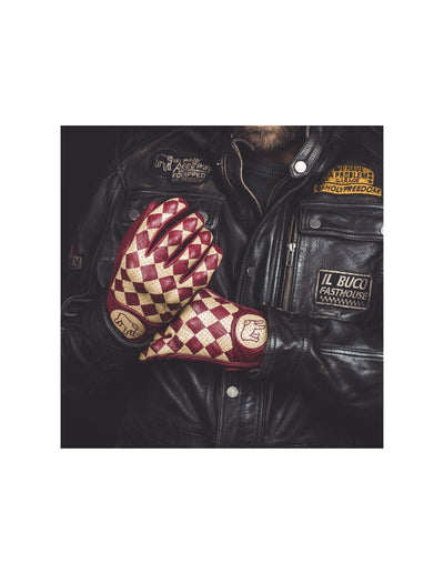 Rogue motorcycle, bullit gloves, leather gloves, red leather gloves, checkered gloves, leathers, motorbike leathers, rewtro vintage gear, motorbike vintage gear, retro gear, rogue motorcycles, perth western australia