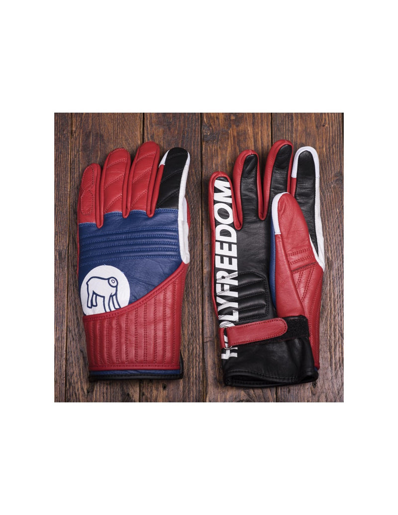 rogue motorcycles, biker gloves, flat track gloves, motorbike gloves, leather gloves, red and blue and white gloves, rider gloves, retro gloves, vintage leather gloves, custom bike gloves.
