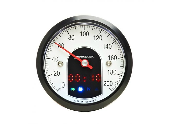 motogadget motoscope tiny black speedo rogue motorcycles perth cafe racer
