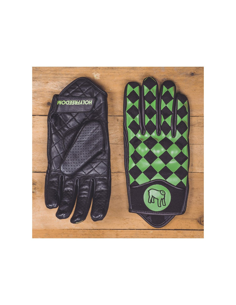 Rogue motorcycles,  tartaruga gloves, holy freedom gloves, green checkered gloves, leather gloves, motorbike gloves, motorcycle gloves, Rogue motorcycles wa perth western australia, custom, biltwell, Gringo, lanesplitter , Australia, cafe racer,