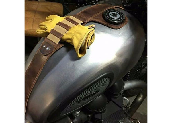 triumph leather tankstrap glove holder rogue motorcycles perth cafe racer tracker brat