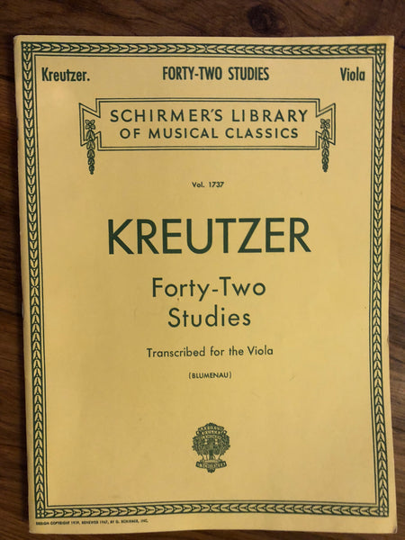 Kreutzer, Forty-Two Studies Transcribed for the Viola